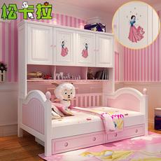 儿童床女孩实木衣柜床公主床组合粉红色子母床多功能儿童套房家具