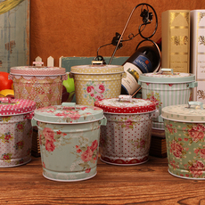 创意小清新民族风铁皮带盖收纳桶笔筒桌面迷你垃圾桶花桶储物桶