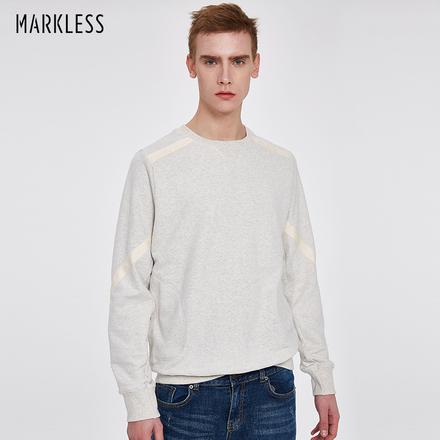 Markless2018春季新款套头圆领卫衣纯棉休闲修身外套简约男士青年