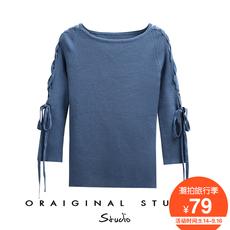 七分袖针织衫女2017秋装新款韩版修身系带一字领纯色冰丝套头毛衣