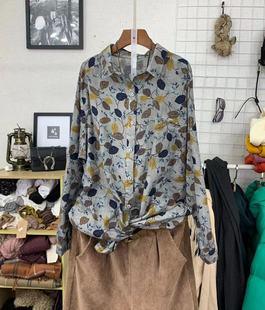 春秋季新款韩版女装宽松显瘦长袖翻领碎花衬衫大码开扣亚麻衬衣女
