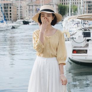 沫里夏款 法式復古V領純棉格子襯衫 寬松薄款五分袖上衣女C0908