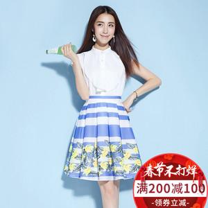 2018新款女装春装印花连衣裙短袖韩版条纹套装裙修身两件套a字裙
