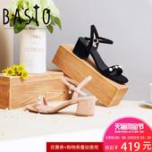 聚BASTO/百思图2018夏季专柜同款羊绒皮革珍珠一字带凉鞋RNU07BL8
