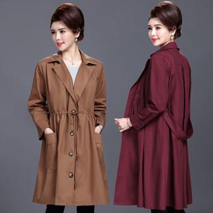 中老年女装春秋装中长款过膝风衣外套妈妈装宽松大码薄款纯棉大衣