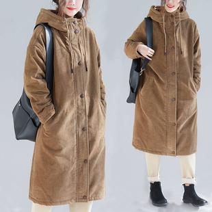 布海 冬季长款棉服女中长款过膝灯芯绒加厚棉衣宽松连帽大码棉袄