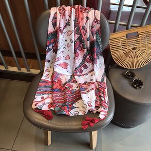 围巾夏女波西米亚民族风红色几何棉麻纱巾沙滩巾防晒披肩女
