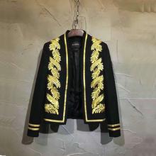 无领刺绣叶子印度金丝线镶边宴会走秀夜场西服xz9008 春秋男装 时尚