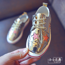 儿童时尚皮鞋 春秋2017新款韩国星星男童潮公主鞋子 女童百搭单鞋