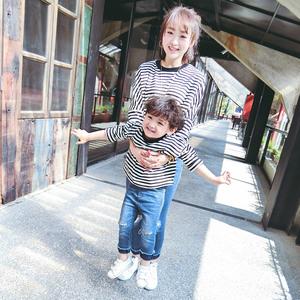 儿童亲子装春秋上衣宝宝春装男童母子装T恤韩版衣服小童童装长袖t亲子装