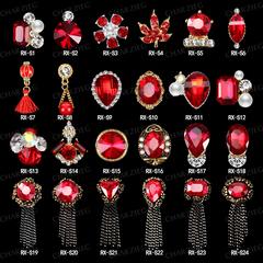美甲钻饰品新年大红色流苏链条指甲钻石水钻贴钻饰金银花DIY多款