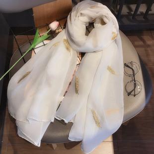 春秋刺绣羽毛棉麻围巾百搭韩版纯色长款披肩两用夏季防晒女士丝巾