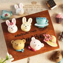 外贸日单树脂小熊小兔子创意吸磁贴韩国装饰贴韩版可爱卡通冰箱贴