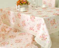 田园生活 浪漫满屋 粉色 布艺餐桌布 台布 盖巾 多用巾 椅垫 椅套