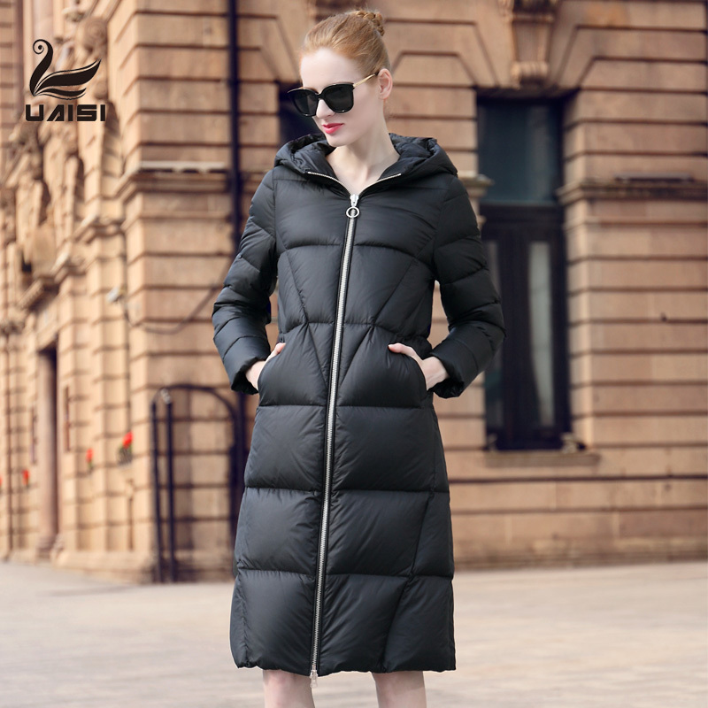 美国UAISI反季羽绒服女长款过膝加厚韩版超长羽绒大衣大码白鹅绒图片