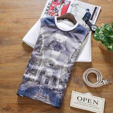 腔调男装-898-P25-夏季新款男士古典风格T恤 圆领上衣 加肥加大男