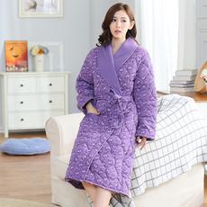 冬季睡袍三层夹棉袍纯棉加厚长款中老年女装长袖家居服加大码睡衣