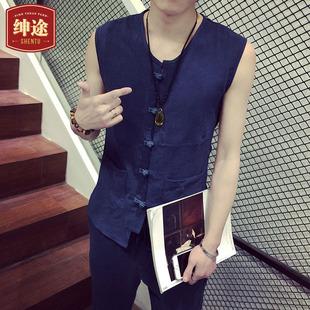 绅途夏季中国风男装韩版修身亚麻无袖衬衫男潮休闲九分裤时尚套装