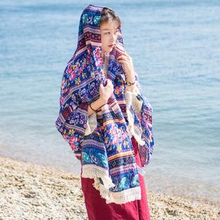 四季款棉麻印花女士防晒头巾 户外旅游沙滩休闲大号民族风披肩