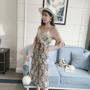 2017春夏新款韩版收腰蕾丝吊带连衣裙女中长款两件套气质套装裙子连衣裙