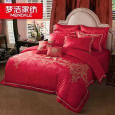 梦洁家纺 畅销经典婚庆提花八件套中式红色 床单被套 丘比特之吻