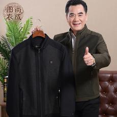 秋冬季中年男士爸爸秋冬装2017新款加绒加厚外套中老年人男装夹克