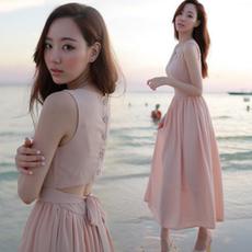 2016夏季连衣裙长裙沙滩裙 海边度假性感修身无袖雪纺背心裙女潮