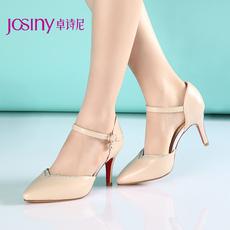 卓诗尼2015年春季新款简约单鞋浅口尖头细高跟水钻女鞋151424350