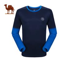 骆驼运动T恤 情侣款圆领长袖T恤 男女款时尚透气 运动健身瑜伽T恤