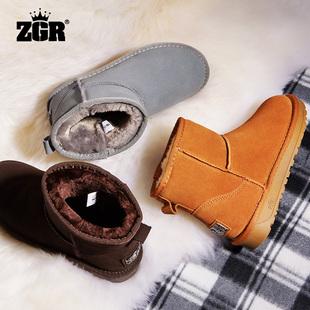ZGR雪地靴女短靴秋冬季女鞋短筒学生雪地棉鞋平底保暖加绒女靴子