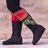 汉舞民族风中筒女靴时尚绣花靴子千层底布鞋女春秋季单靴女 素雅