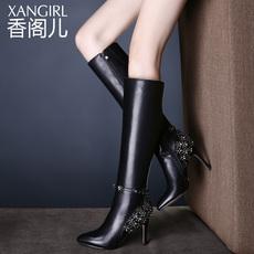 香阁儿长靴子女秋冬新款欧美时尚女鞋真皮尖头高跟鞋子女冬长筒靴