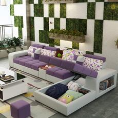 布艺沙发大小户型简约现代客厅整装家具可拆洗多功能储物L型沙发