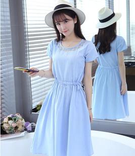 中长款短袖棉麻连衣裙女2018夏季韩版小清新大码修身收腰中长裙子
