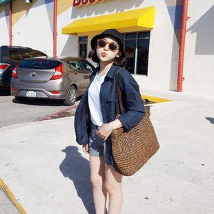 k460新品韩国女装代中性大口袋宽松长袖亚麻女衬衫上衣防晒衫现货