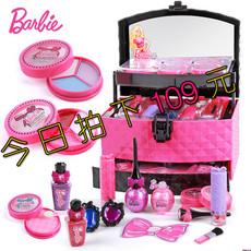 女孩玩具芭比公主娃娃彩妆套装礼盒迪士尼儿童化妆品组合生日礼物