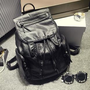 2017韩版时尚新款水洗皮双肩包女潮流学院风休闲背包书包旅行包包
