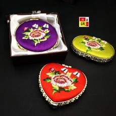 中国风出国送老外折叠丝绸绣花镜子民间特色工艺品礼品金属化妆镜