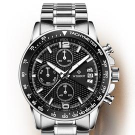 威思登男表石英手表多功能夜光精钢手表皮带