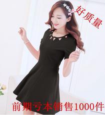 优质 2017夏季新款韩版女装大码时尚气质修身显瘦镂空衣领连衣裙