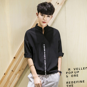 夏季衣服休闲韩版衬衣宽松中袖蝙蝠衫立领潮流七分袖衬衫男装潮衬衫男