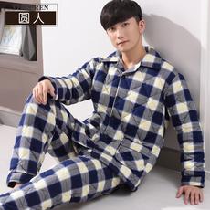 男士睡衣冬季纯棉秋冬款三层夹棉冬天格子加厚加棉男装家居服套装