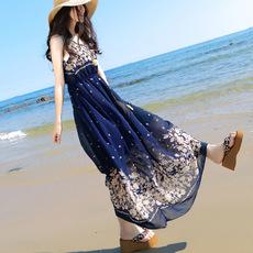波西米亚连衣裙2017夏季无袖碎花雪纺沙滩长裙海边度假裙时尚女裙