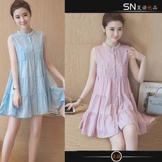 韩版雪纺连衣裙夏2016女装新款甜美时尚无袖背心裙显瘦a字短裙子