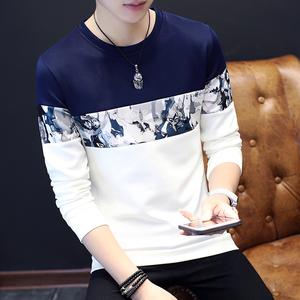 长袖T恤男士圆领条纹体恤青少年套头卫衣修身打底衫秋季男装衣服棒球服