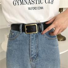 insxl国新式皮带dllang长方形铜扣chic复古简约女士宽腰带PU皮潮
