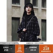 2020q新式学院风qy套女秋季宽松气质韩款中长式格纹呢子大衣女