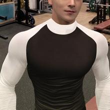 肌肉兄0q紧身衣男长qyT恤运动弹力高领篮球跑步训练服