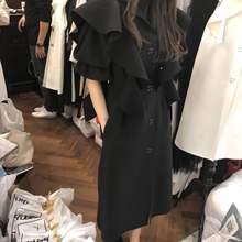 韩国东0z门2021pp式时尚荷叶边名媛气质中长式五分袖连衣裙女