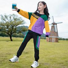 女童春装卫112套装运动2s021新款中大儿童洋气网红春秋款女孩